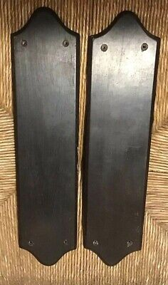 RECLAIMED ANTIQUE EARLY 1900s PAIR HARDWOOD DOOR FINGER PLATES ( 2 Available )