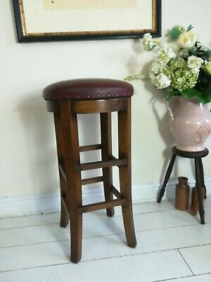 Tall Oak Swivel Bar Stool Vintage Retro Red Leather Vinyl Top Pub Taylor's