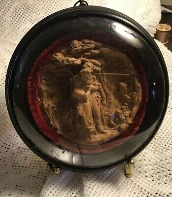 Victorian Carved Plaster Wall Plaque Under Domed Glass