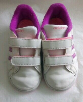 Baby Girls Adidas Trainers Size 7 Infant Uk White Pink Purple Sparkle Vgc