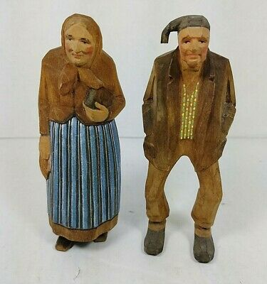 Hand Carved Painted Old Man and Woman Black Forest Americana Folk Art Wood