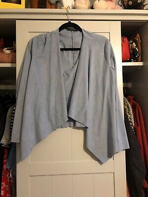 Zara Waterfall Drape Faux Suede Blue/Grey Jacket Size EUR M, Good Condition