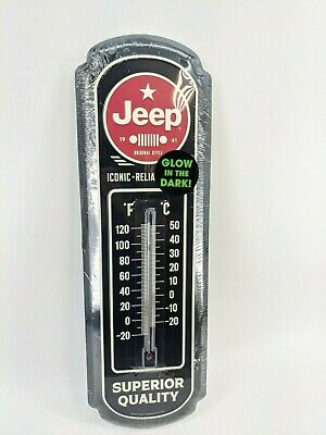 "JEEP - Large Tin Thermometer 27"" x 9"" - Glow in Dark - Black Superior Quality"