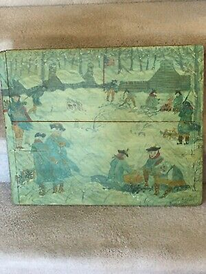 Antique Folk Art Painting On Wood George Washington Valley Forge LOOK!