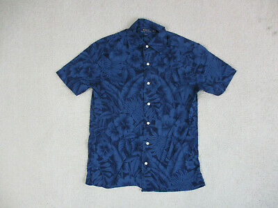 Ralph Lauren Polo Button Up Shirt Adult Small Blue Black Floral Casual Camp Mens