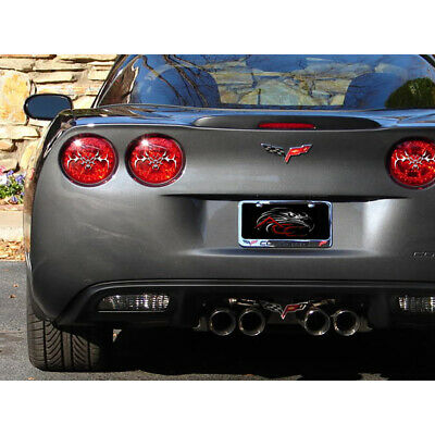 Polished Stainless Steel Tribal Skull Tail Light Covers for 05-13 Chevy Corvette