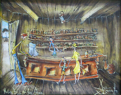 "Nice Leo Smaniotto Painting oil on board ""Mulga Bill at the Store"" 38cm x 29cm"