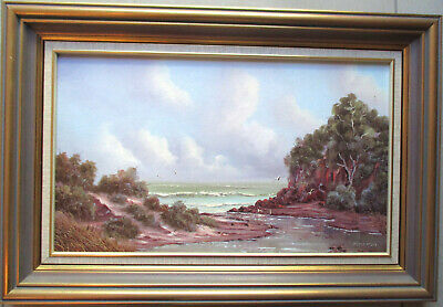 Peter McLay Painting oil on board Seascape with birds 49cm x 29cm