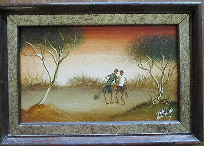 Nice Frank Harding Oil Painting Two Men in the Outback 19.5cm x 12cm