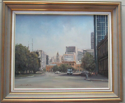 "Charles Boch Oil on board  ""At Victoria Square"" Adelaide 50cm x 40cm NO1"