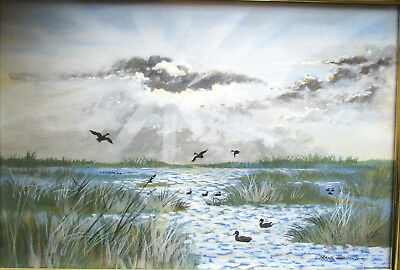 Nice Frank Harding Original Landscape Painting with water birds 32cm x 21cm