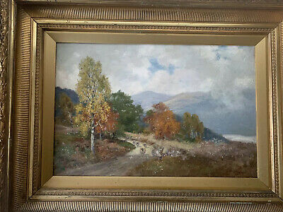 Antique John McWhirter Large Signed Oil on Canvas Scottish Woodlands Sheep Loch
