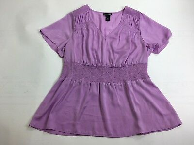 Lane Bryant Light Purple Short Sleeve V Neck Blouse Women's Plus Size 18/20