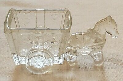 Vintage Clear Glass Donkey & Cart Jeanette?