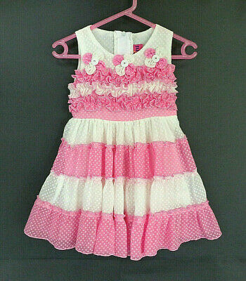 Baby Girl's Very Cute Pink & Ivory Dress with Flower Detail- Size 0 -Brand: Gani