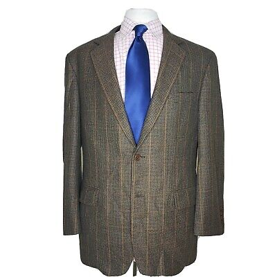 Brooks Brothers 44R Mens Brown Windowpane 2 Button Center Vented Sport Coat
