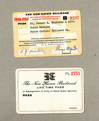 TWO New Haven Railroad: Unissued Lifetime and 1956-57 Pass Buchheim Maine Ctrl