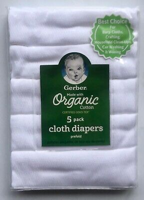 Gerber 100% Organic Cotton White 5pk Prefold Cloth Diapers—Certified OEKO-TEX