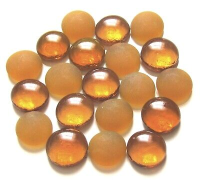 20 x Frosted Candied Honey & Clear Treacle Mosaic Art Pebbles Glass Gem Stones