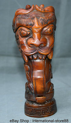 """7.2"""" Marked Old Chinese Dynasty Ox Horn Carving Lion Beast Horn cup Decoration"""
