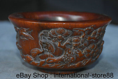 """4.8"""" Marked Old Chinese ox horn Carving Dynasty Palace Crane Pine Oxhorn Bowl"""