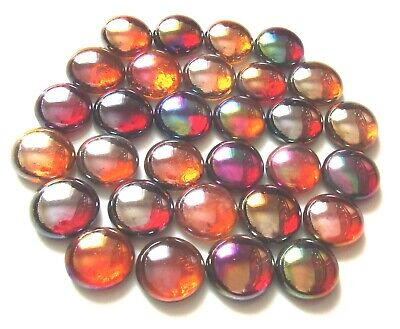30 x Shades of Warm Summer Sunsets Art Glass Mosaic Pebble Nugget Gem Stones