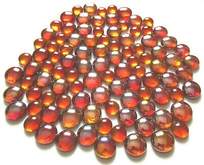 100 x Shades of Orange Fire Mosaic Art Glass Pebble Gem Stones - Assorted Sizes