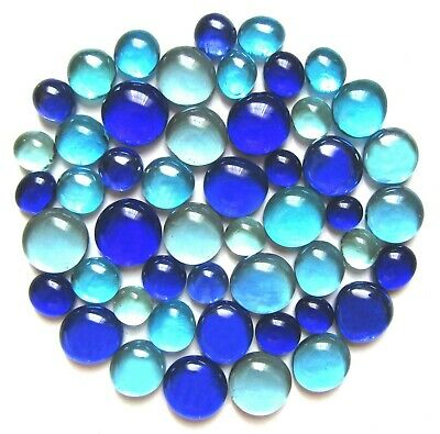 50 x Oceans of Blue Art Glass Mosaic Craft Pebbles Gem Stones - Assorted Sizes