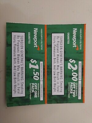 Two (2) NEWPORT Cigarette Coupons, exp 5/31/2020 (1@$2 off & 1@$1.50 off)