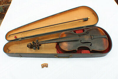 Antique German HOPF Violin for Restoration Project Bow Wood G & B Violin Case