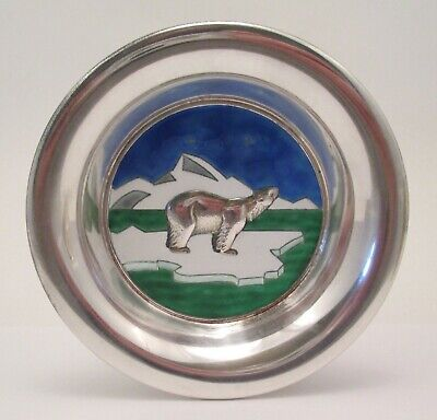 Enameled Sterling Silver Polar Bear Dish by N M THUNE Norway