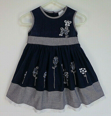 Baby Girl's Blue & White Dress with Flower Detail - Size 00 - Brand: Target