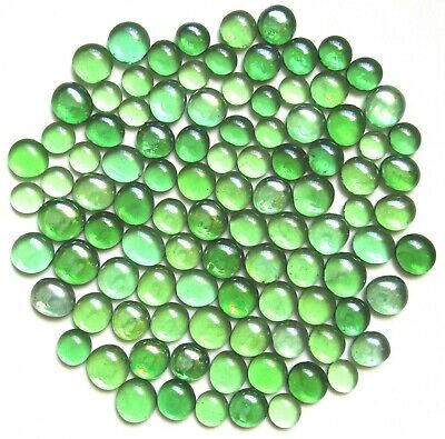 100 x Shades of Botanical Green Glass Mosaic Craft Pebbles Stones Assorted Sizes
