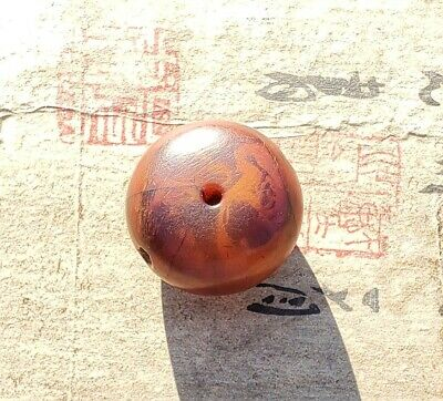 Large Antique Natural Baltic Amber Bead Possibly Chinese Or Tibetan Very Old