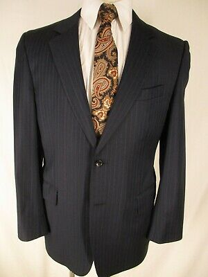 Jos A Bank Signature Gold Mens Navy Stripe 2 Btn Suit 40R Zegna Made