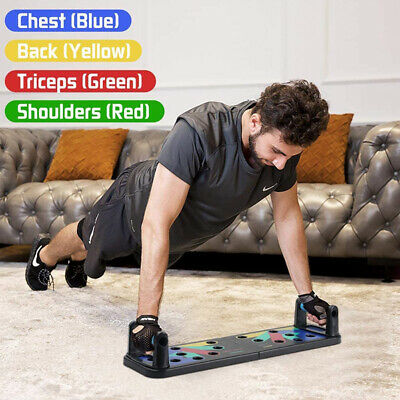 Gym Push Up Rack Board w/ Resistance Band Fitness Exercise Push Up Stands HOT UK