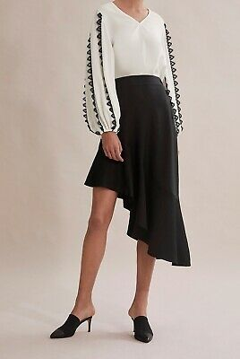Country Road Asymmetric Button Skirt [6] NWT RRP$229 Black