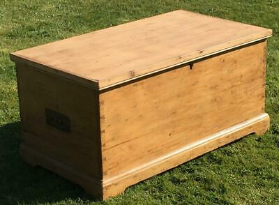Antique English Stripped Pine Trunk, Box, Chest, Coffer. Coffee Table