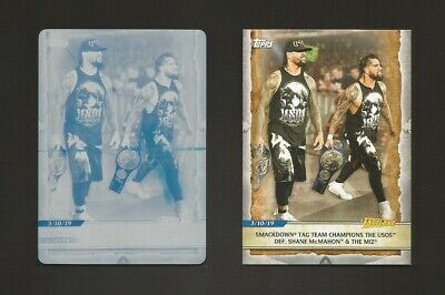 "2020 Topps Wwe Road To Wrestlemania ""Smackdown Tag Team""  ""Cyan Printing Plate"""