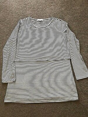 Madison The Label Black And White Striped Maternity Nursing Top Size XL