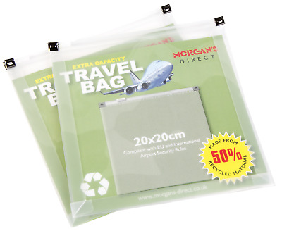 Extra Capacity Clear Plastic Zip Bags Airport Travel Security Liquids Twin Pack