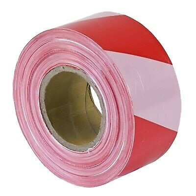 10 x Hazard Warning Tape Roll Strong barrier tape 72mm x 500m Red/White