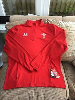 Under Armour Wales Rugby Union 1/4 Zip Mid Layer Size Large Brand New With Tags