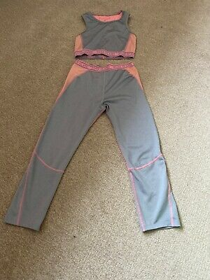 River Island Dance Wear Crop Top Leggings Age 11/12 Pink And Grey