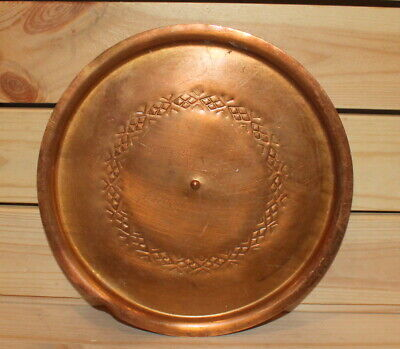 1984 Hand made copper round serving tray