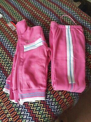Girls Age 10 Tracksuit Blue Joggers Pink Hoodie NY Bling