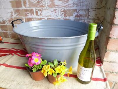 Vintage Tin Bath Enamel Bowl  Enamelled Original Free Postage Cool Beer Ice.