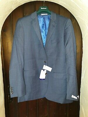 Chester by Chester Barrie Wool Sharkskin Suit Jacket, Mid Blue UK Size 42L BNWT
