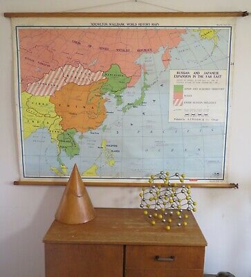 Original Vintage Map Of South East Asia Russian & Japanaese Expansion In East
