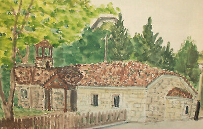 Antique impressionist landscape watercolor painting monastery